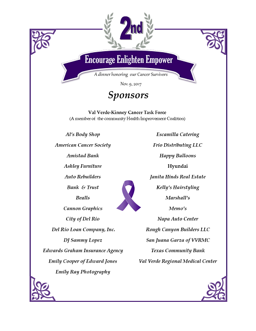 We wish to thank the sponsors of the 2<sup>nd</sup>Annual Cancer Survivor Dinner