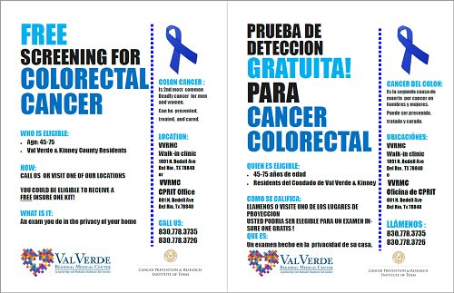 Free screening for Colorectal Cancer flyer
