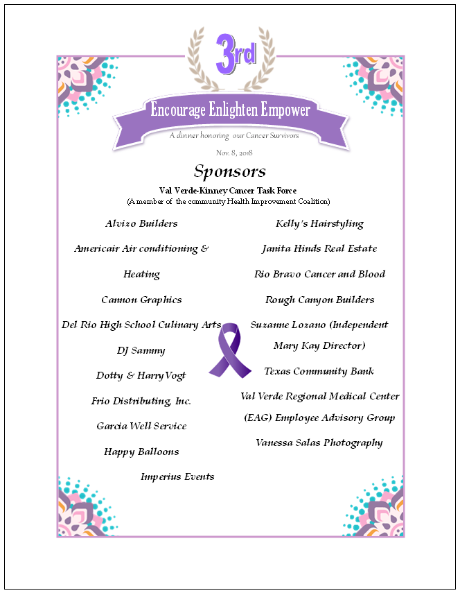 We wish to thank the sponsors of the 3<sup>rd</sup>Annual Cancer Survivor Dinner